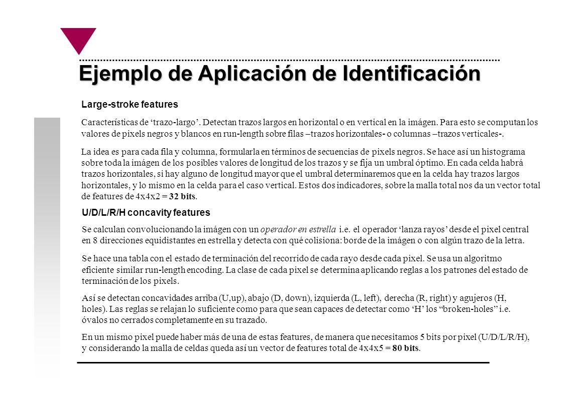 Ejemplo de Aplicación de Identificación Large-stroke features Características de trazo-largo. Detectan trazos largos en horizontal o en vertical en la