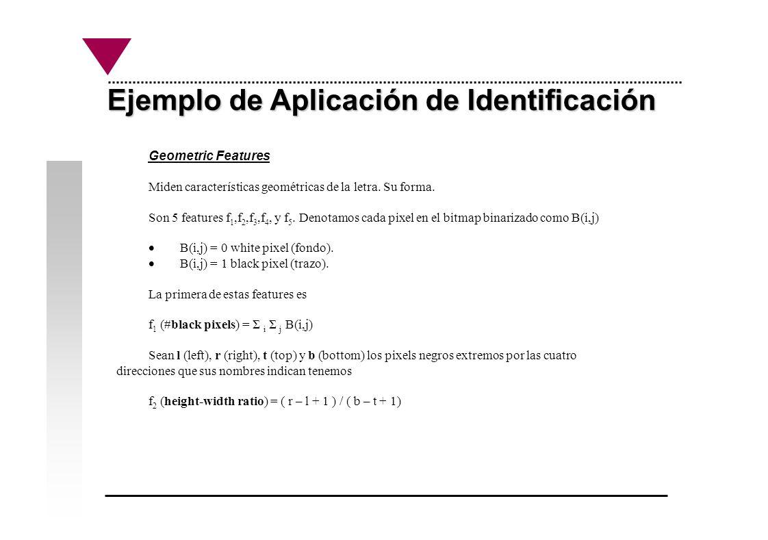 Ejemplo de Aplicación de Identificación Geometric Features Miden características geométricas de la letra. Su forma. Son 5 features f 1,f 2,f 3,f 4, y