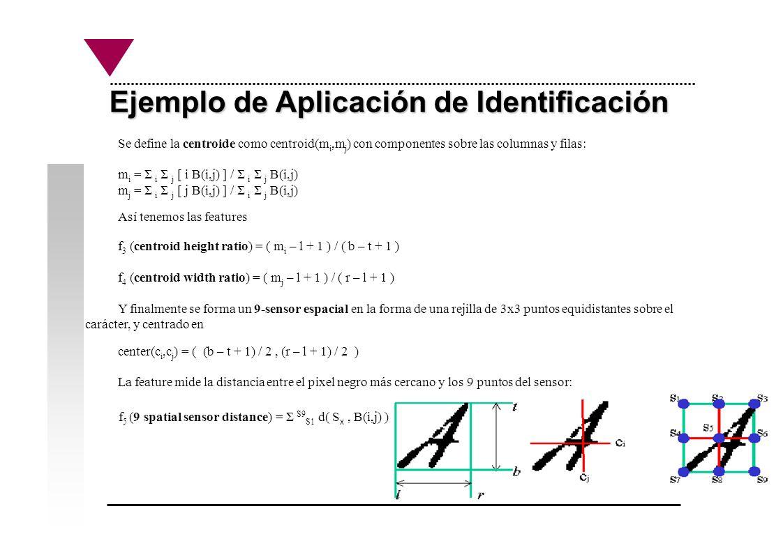 Ejemplo de Aplicación de Identificación Se define la centroide como centroid(m i,m j ) con componentes sobre las columnas y filas: m i = Σ i Σ j [ i B