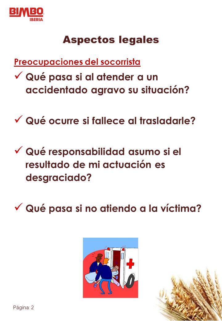 Página: 2 Aspectos legales Preocupaciones del socorrista Qué pasa si al atender a un accidentado agravo su situación? Qué ocurre si fallece al traslad