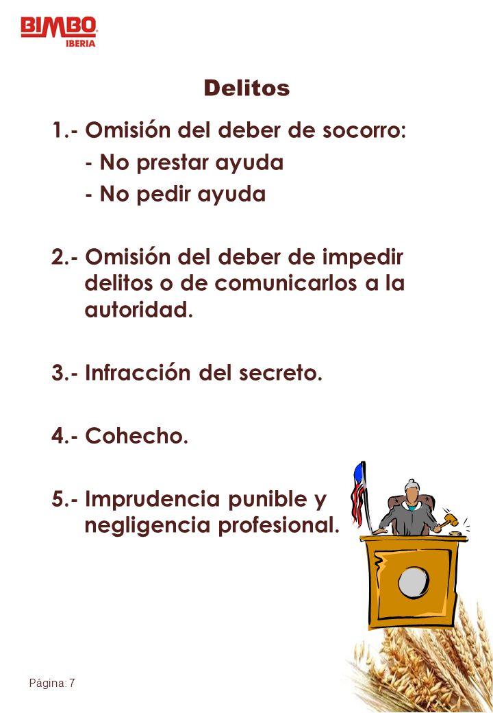 Página: 7 Delitos 1.- Omisión del deber de socorro: - No prestar ayuda - No pedir ayuda 2.- Omisión del deber de impedir delitos o de comunicarlos a l