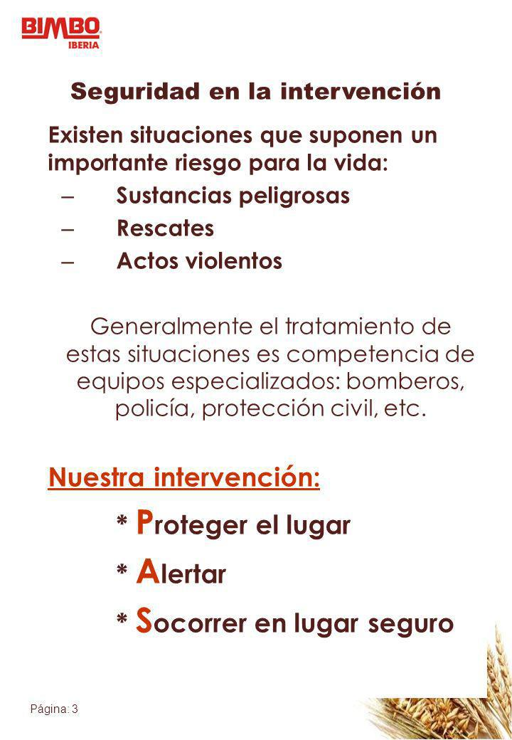 Página: 3 Seguridad en la intervención Existen situaciones que suponen un importante riesgo para la vida: – Sustancias peligrosas – Rescates – Actos v