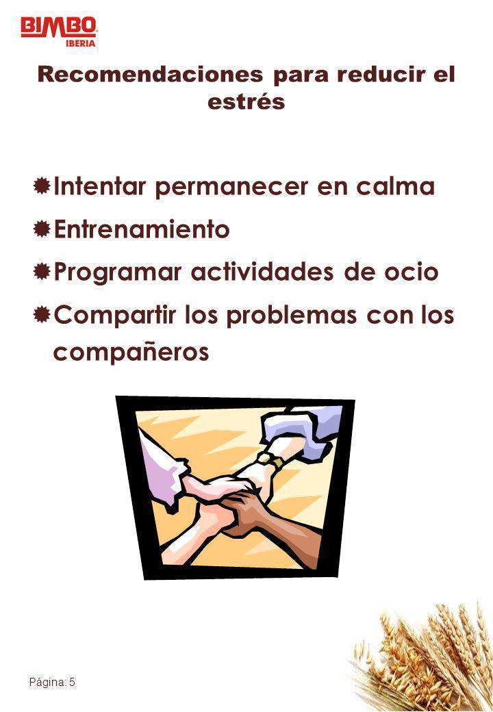 Página: 5 Recomendaciones para reducir el estrés Intentar permanecer en calma Entrenamiento Programar actividades de ocio Compartir los problemas con