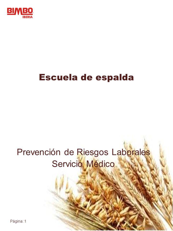 Página: 1 Prevención de Riesgos Laborales Servicio Médico Escuela de espalda