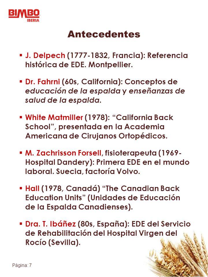 Página: 7 J. Delpech (1777-1832, Francia): Referencia histórica de EDE. Montpellier. Dr. Fahrni (60s, California): Conceptos de educación de la espald