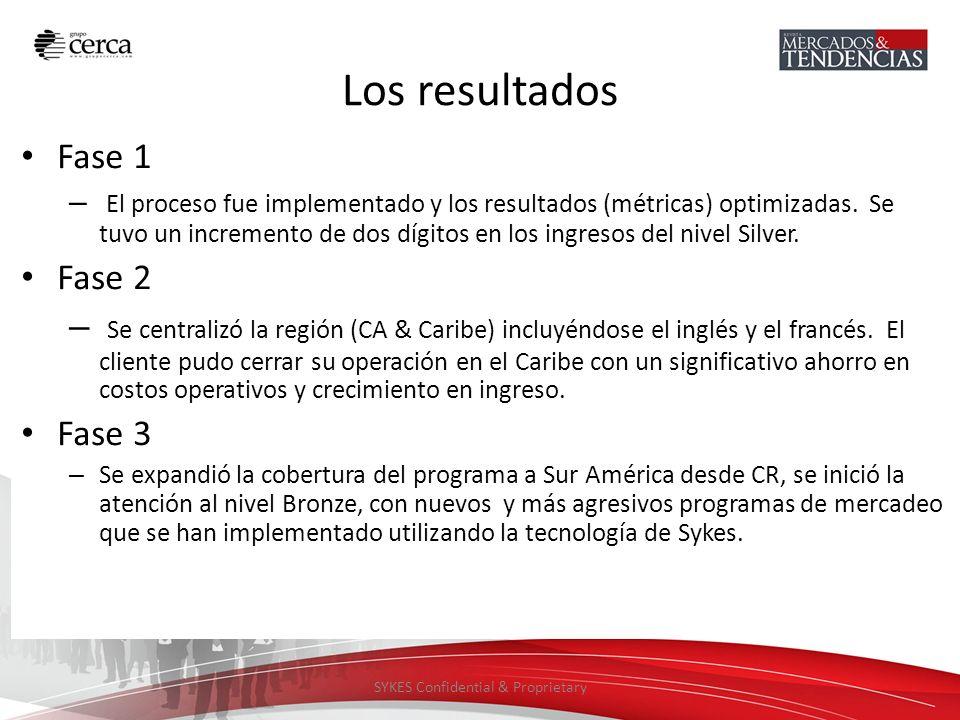 SYKES Confidential & Proprietary Los resultados Fase 1 – El proceso fue implementado y los resultados (métricas) optimizadas. Se tuvo un incremento de