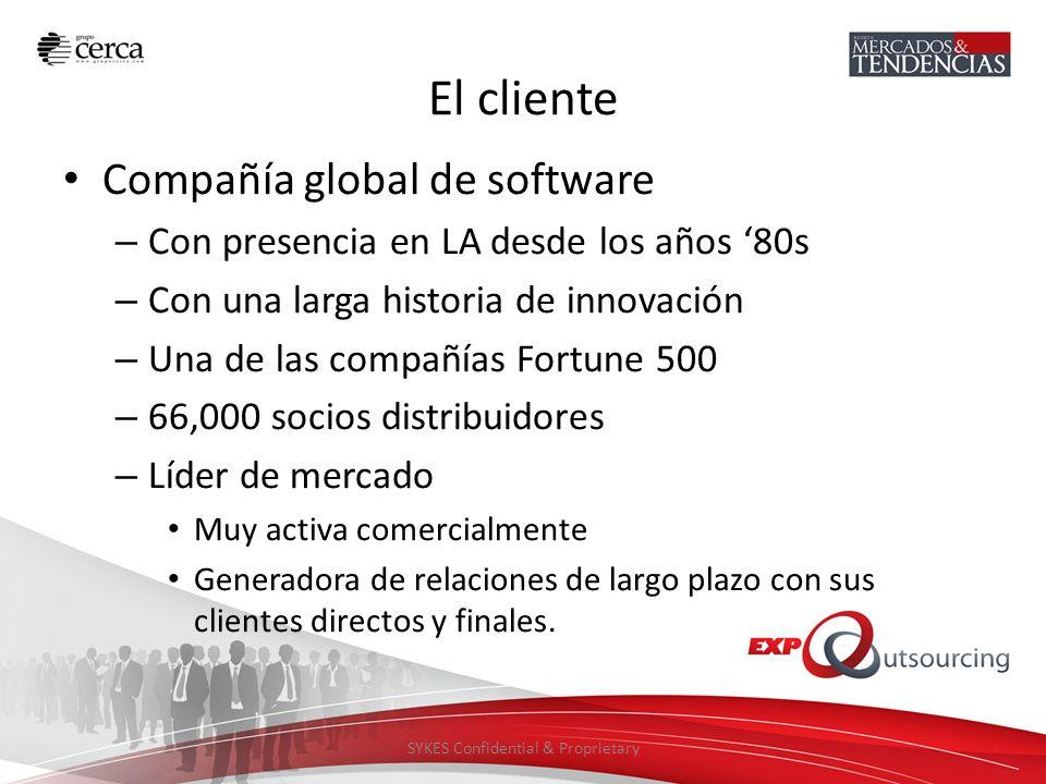 SYKES Confidential & Proprietary El cliente Compañía global de software – Con presencia en LA desde los años 80s – Con una larga historia de innovació