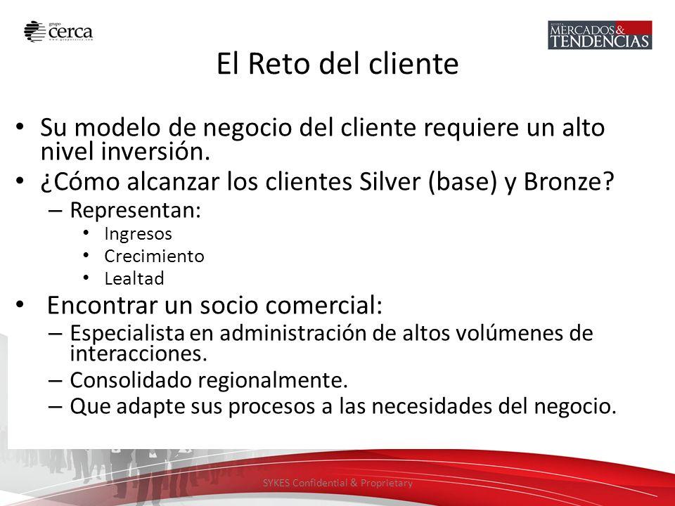 SYKES Confidential & Proprietary El Reto del cliente Su modelo de negocio del cliente requiere un alto nivel inversión. ¿Cómo alcanzar los clientes Si
