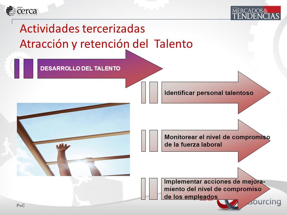 PwC Actividades tercerizadas Atracción y retención del Talento Identificar personal talentoso Monitorear el nivel de compromiso de la fuerza laboral Implementar acciones de mejora- miento del nivel de compromiso de los empleados DESARROLLO DEL TALENTO
