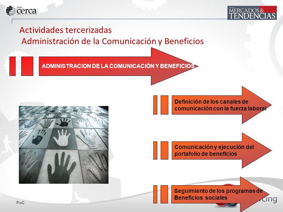 PwC ADMINISTRACION DE LA COMUNICACIÓN Y BENEFICIOS Actividades tercerizadas Administración de la Comunicación y Beneficios Definición de los canales de comunicación con la fuerza laboral Comunicación y ejecución del portafolio de beneficios Seguimiento de los programas de Beneficios sociales