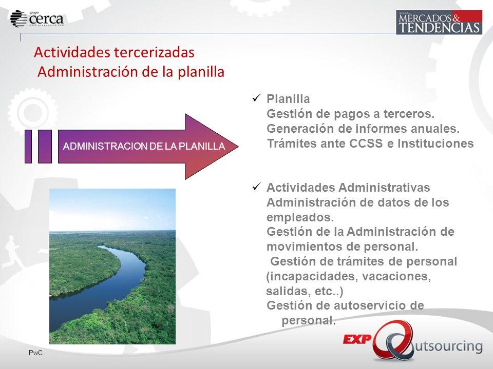 PwC ADMINISTRACION DE LA PLANILLA Actividades tercerizadas Administración de la planilla Planilla Gestión de pagos a terceros.