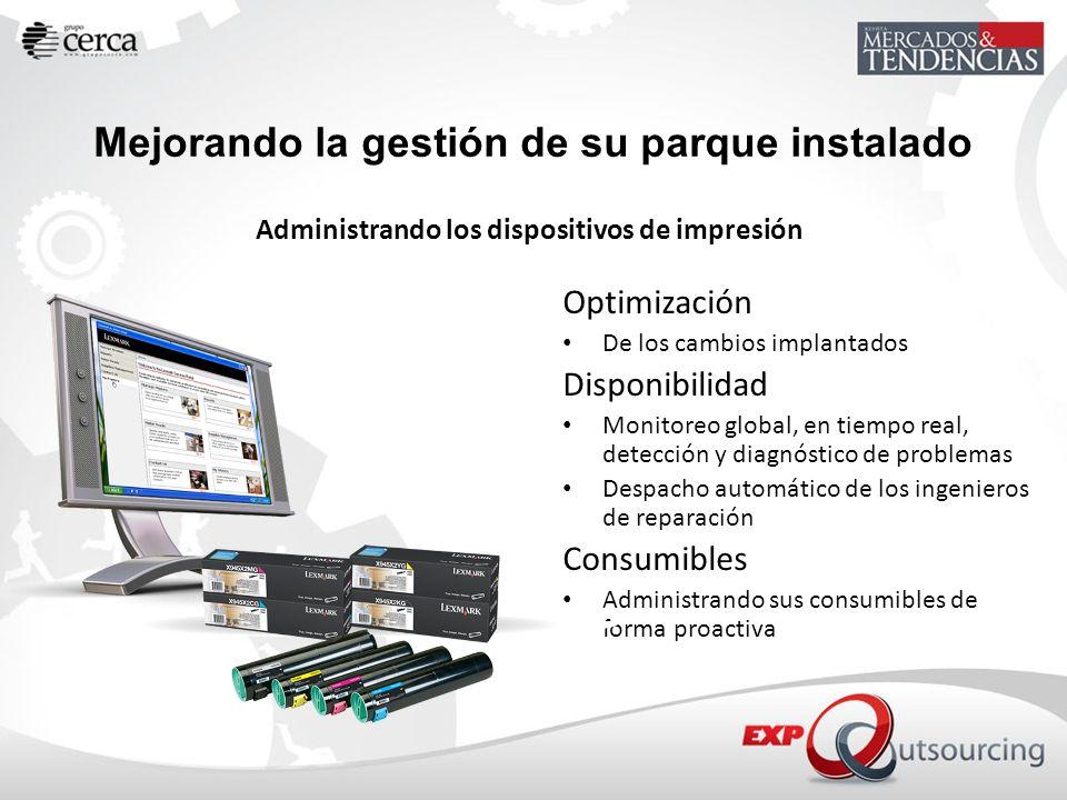 Administrando los dispositivos de impresión Optimización De los cambios implantados Disponibilidad Monitoreo global, en tiempo real, detección y diagn