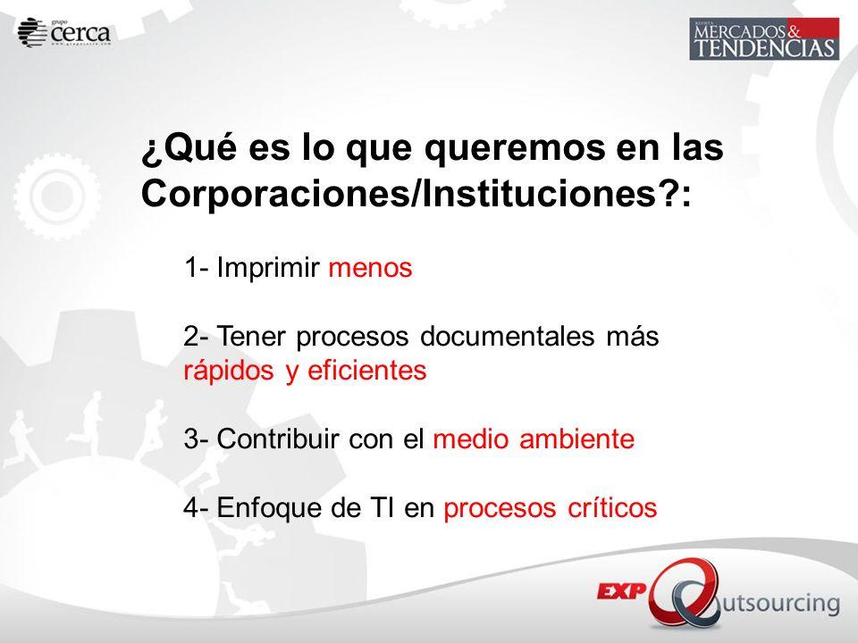 ¿Qué es lo que queremos en las Corporaciones/Instituciones?: 1- Imprimir menos 2- Tener procesos documentales más rápidos y eficientes 3- Contribuir c