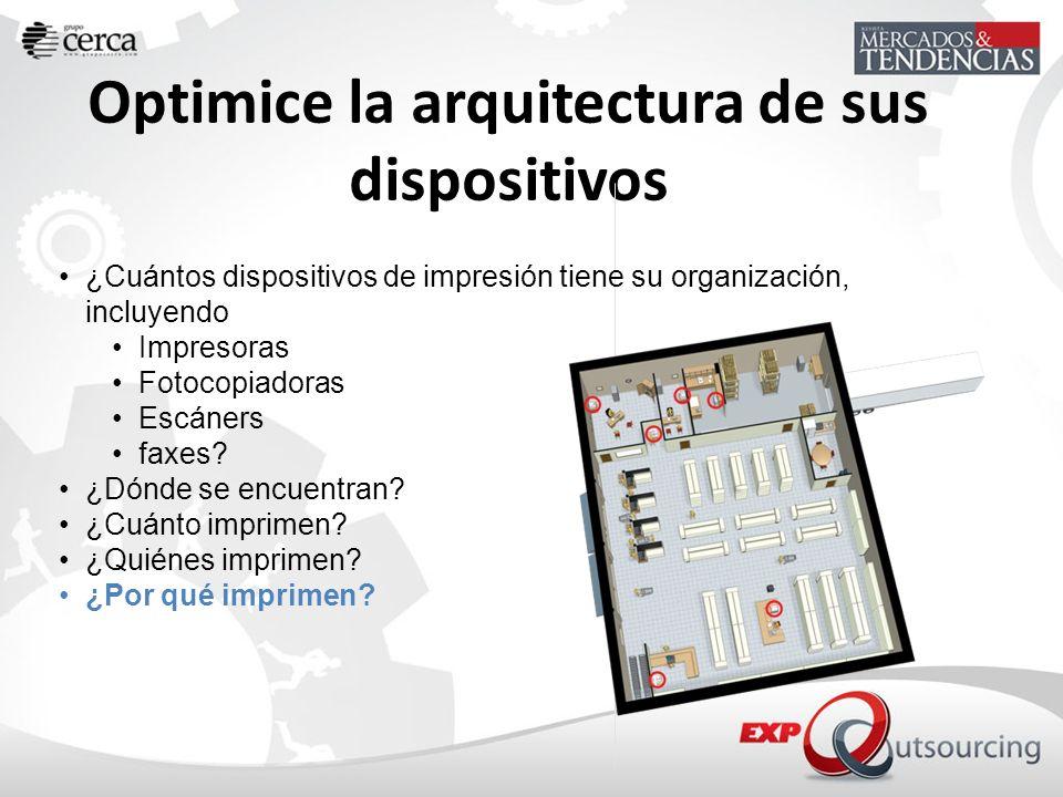 Optimice la arquitectura de sus dispositivos ¿Cuántos dispositivos de impresión tiene su organización, incluyendo Impresoras Fotocopiadoras Escáners f