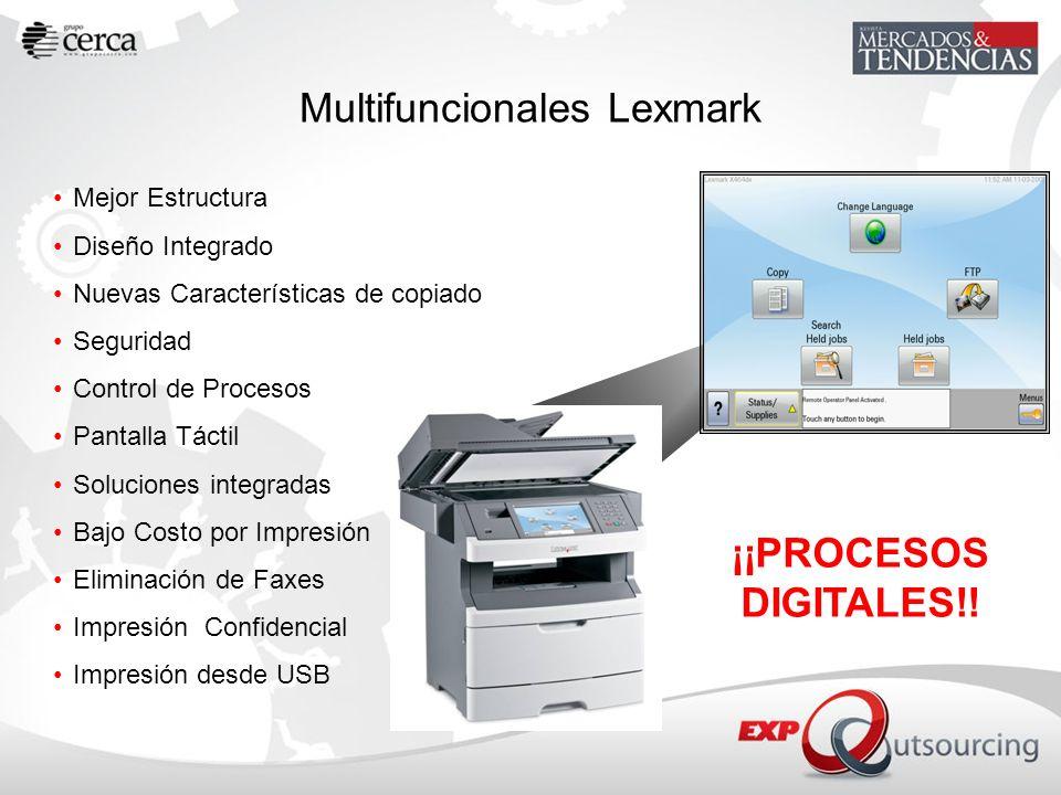 Multifuncionales Lexmark Mejor Estructura Diseño Integrado Nuevas Características de copiado Seguridad Control de Procesos Pantalla Táctil Soluciones
