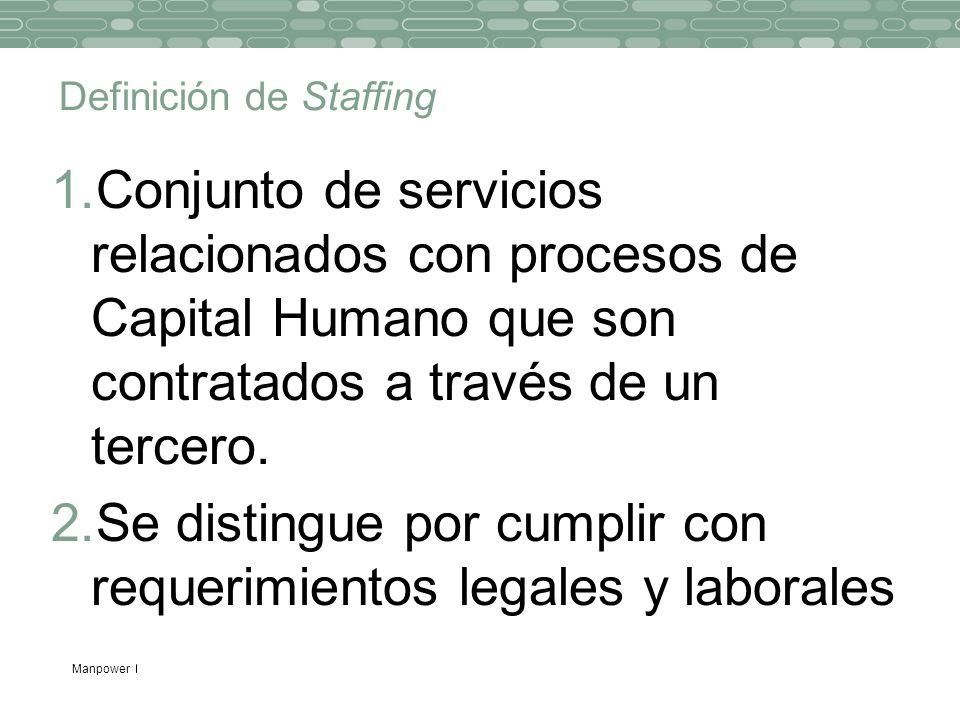 Manpower Definición de Staffing 1.Conjunto de servicios relacionados con procesos de Capital Humano que son contratados a través de un tercero. 2.Se d