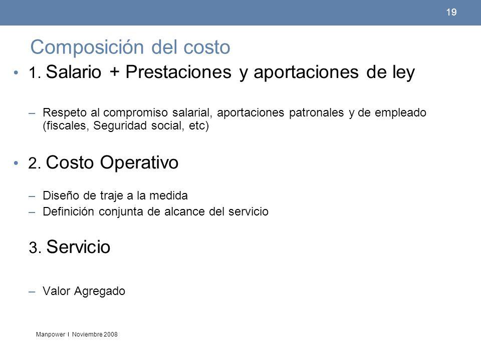 Manpower 19 Noviembre 2008 Composición del costo 1. Salario + Prestaciones y aportaciones de ley –Respeto al compromiso salarial, aportaciones patrona