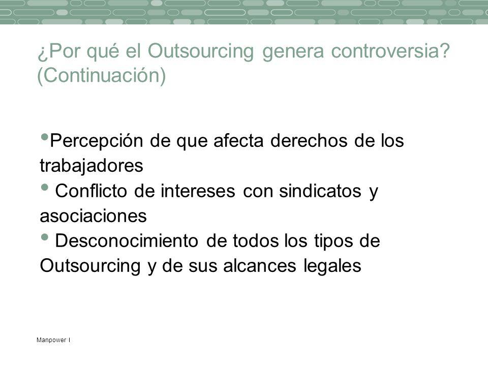Manpower ¿Por qué el Outsourcing genera controversia? (Continuación) Percepción de que afecta derechos de los trabajadores Conflicto de intereses con
