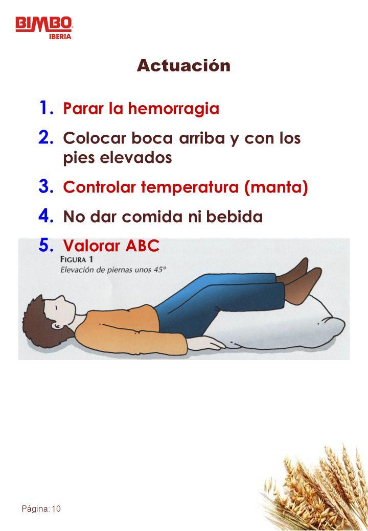Página: 10 Actuación 1. Parar la hemorragia 2. Colocar boca arriba y con los pies elevados 3. Controlar temperatura (manta) 4. No dar comida ni bebida