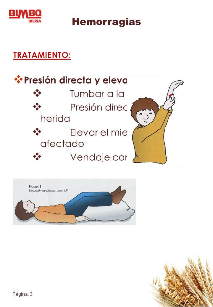 Página: 3 Hemorragias TRATAMIENTO: Presión directa y elevación: Tumbar a la víctima Presión directa sobre la herida Elevar el miembro afectado Vendaje