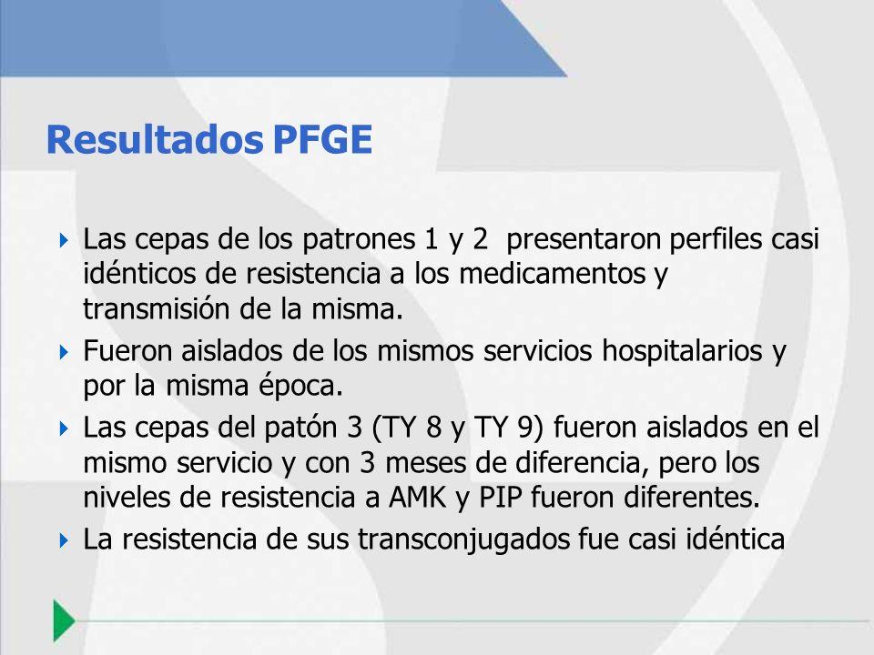 Resultados PFGE Las cepas de los patrones 1 y 2 presentaron perfiles casi idénticos de resistencia a los medicamentos y transmisión de la misma. Fuero