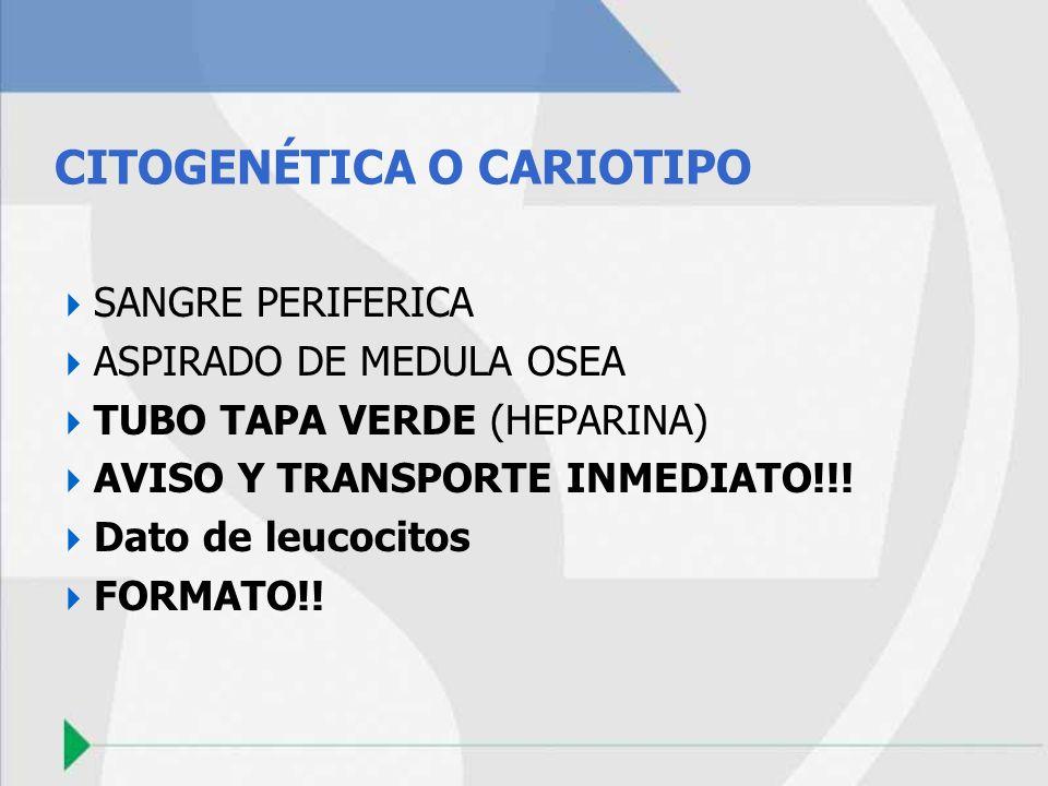 CITOGENÉTICA O CARIOTIPO SANGRE PERIFERICA ASPIRADO DE MEDULA OSEA TUBO TAPA VERDE (HEPARINA) AVISO Y TRANSPORTE INMEDIATO!!! Dato de leucocitos FORMA