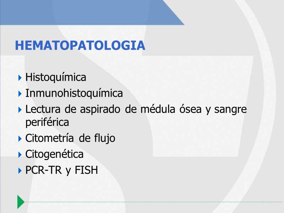 HEMATOPATOLOGIA Histoquímica Inmunohistoquímica Lectura de aspirado de médula ósea y sangre periférica Citometría de flujo Citogenética PCR-TR y FISH