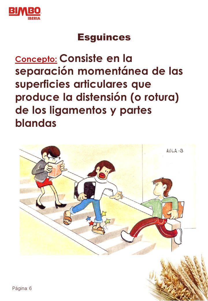 Página: 6 Esguinces Concepto: Consiste en la separación momentánea de las superficies articulares que produce la distensión (o rotura) de los ligament