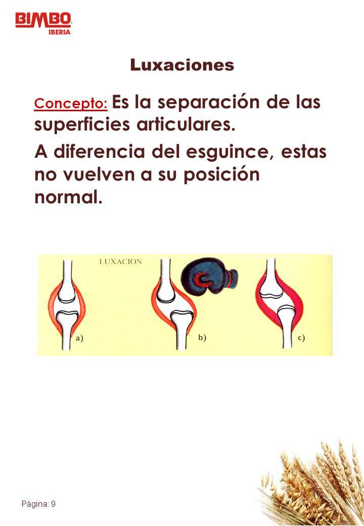 Página: 9 Luxaciones Concepto: Es la separación de las superficies articulares. A diferencia del esguince, estas no vuelven a su posición normal.