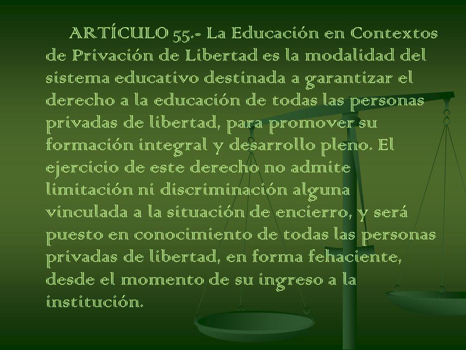 ARTÍCULO 55.- La Educación en Contextos de Privación de Libertad es la modalidad del sistema educativo destinada a garantizar el derecho a la educación de todas las personas privadas de libertad, para promover su formación integral y desarrollo pleno.