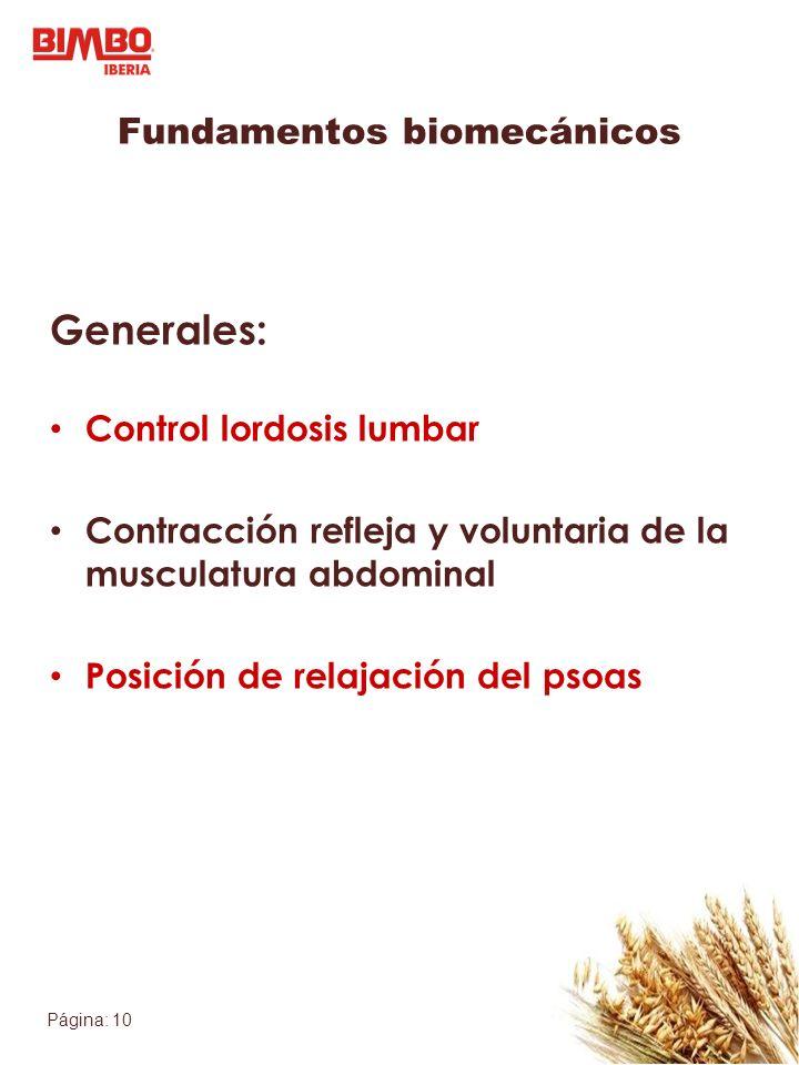 Página: 10 Fundamentos biomecánicos Generales: Control lordosis lumbar Contracción refleja y voluntaria de la musculatura abdominal Posición de relajación del psoas