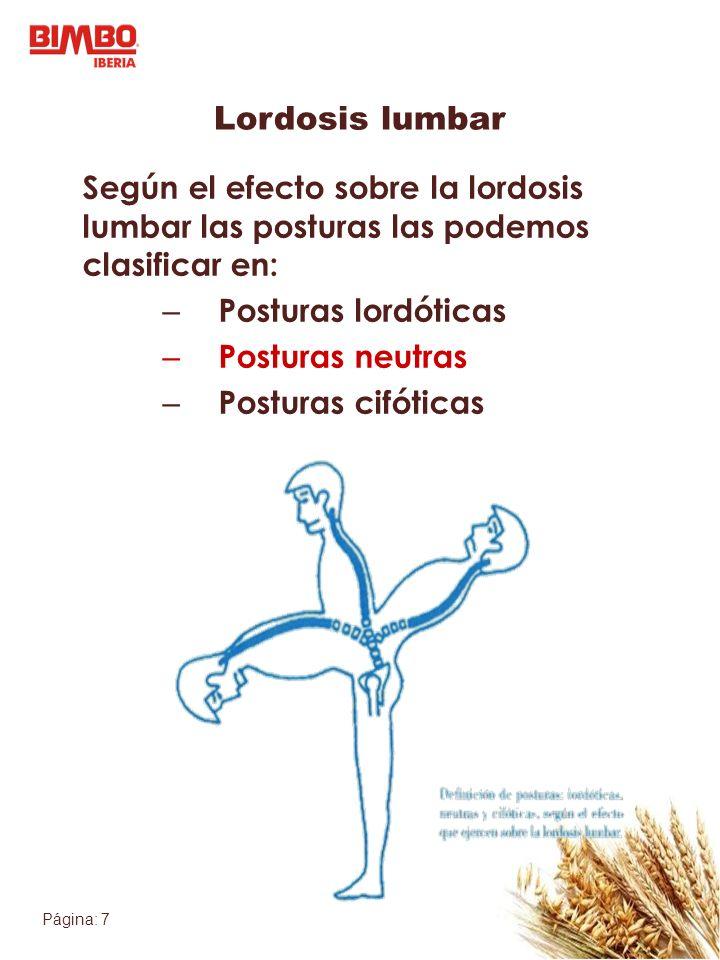 Página: 7 Lordosis lumbar Según el efecto sobre la lordosis lumbar las posturas las podemos clasificar en: – Posturas lordóticas – Posturas neutras – Posturas cifóticas