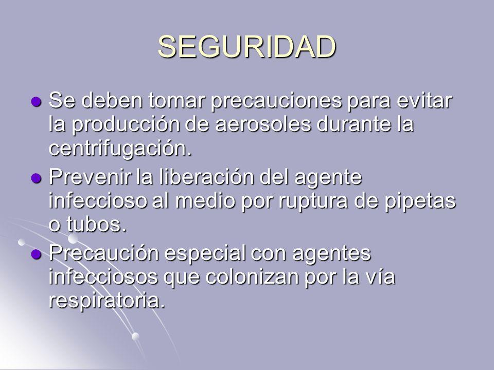 SEGURIDAD Se deben tomar precauciones para evitar la producción de aerosoles durante la centrifugación. Se deben tomar precauciones para evitar la pro