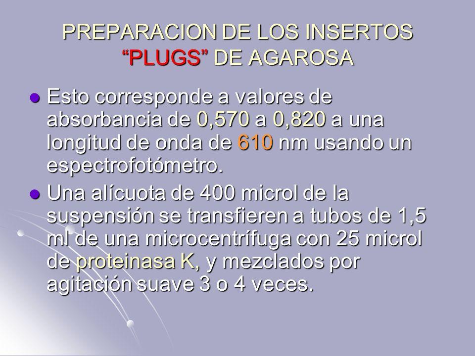 PREPARACION DE LOS INSERTOS PLUGS DE AGAROSA Esto corresponde a valores de absorbancia de 0,570 a 0,820 a una longitud de onda de 610 nm usando un esp