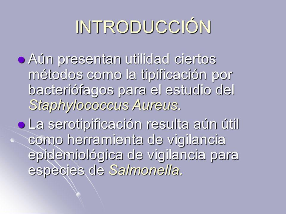 INTRODUCCIÓN Aún presentan utilidad ciertos métodos como la tipificación por bacteriófagos para el estudio del Staphylococcus Aureus. Aún presentan ut