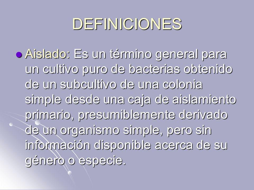DEFINICIONES Aislado: Es un término general para un cultivo puro de bacterias obtenido de un subcultivo de una colonia simple desde una caja de aislam