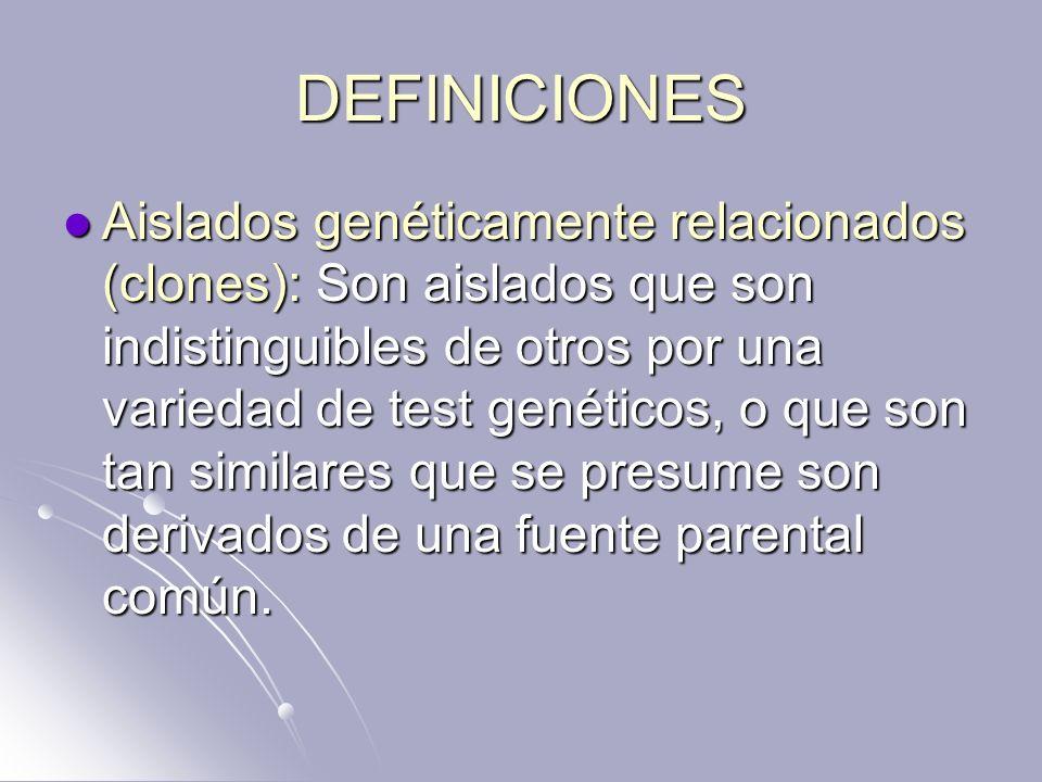 DEFINICIONES Aislados genéticamente relacionados (clones): Son aislados que son indistinguibles de otros por una variedad de test genéticos, o que son