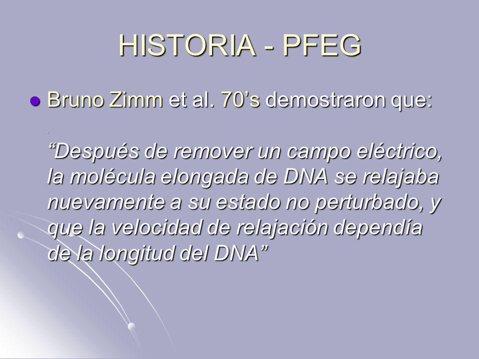 HISTORIA - PFEG Bruno Zimm et al. 70s demostraron que:. Después de remover un campo eléctrico, la molécula elongada de DNA se relajaba nuevamente a su