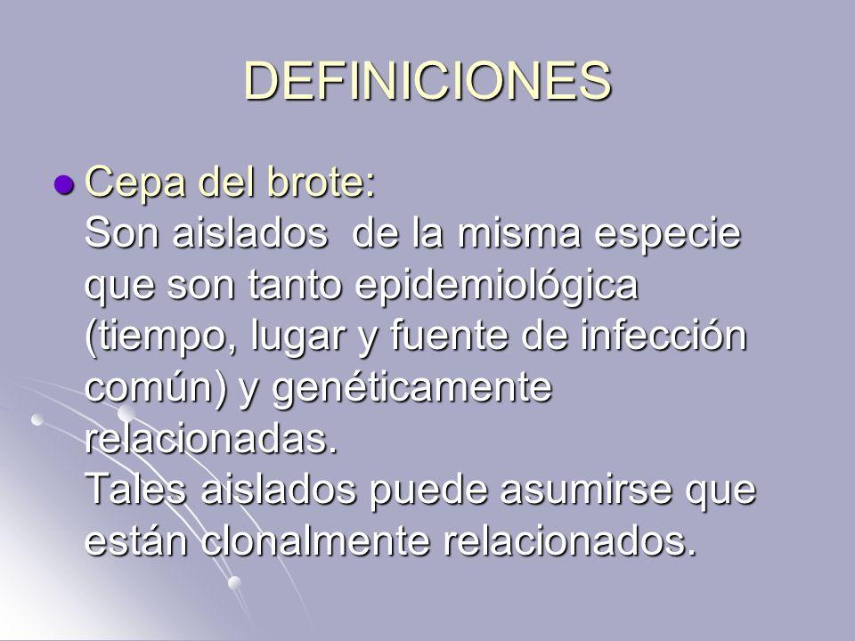 DEFINICIONES Cepa del brote: Son aislados de la misma especie que son tanto epidemiológica (tiempo, lugar y fuente de infección común) y genéticamente