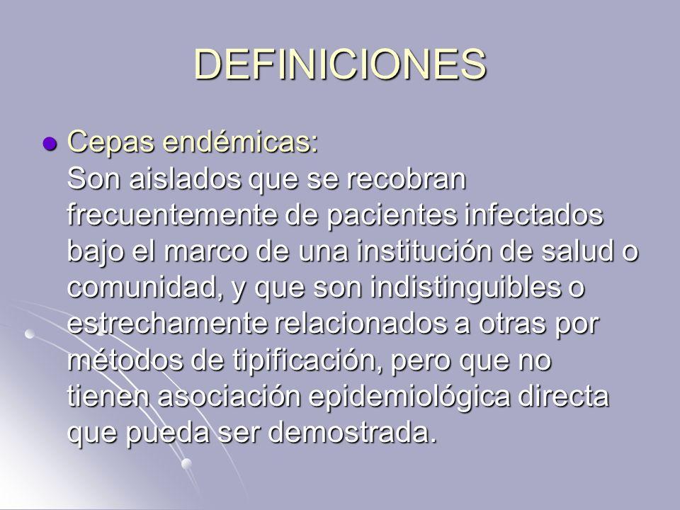 DEFINICIONES Cepas endémicas: Son aislados que se recobran frecuentemente de pacientes infectados bajo el marco de una institución de salud o comunida