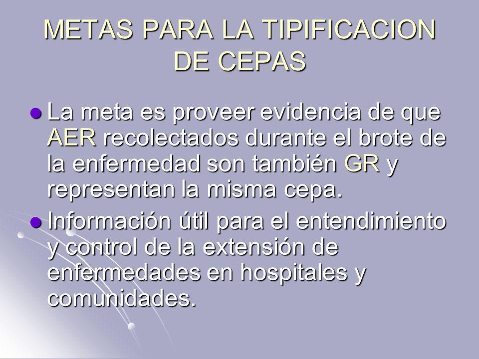 METAS PARA LA TIPIFICACION DE CEPAS La meta es proveer evidencia de que AER recolectados durante el brote de la enfermedad son también GR y representa