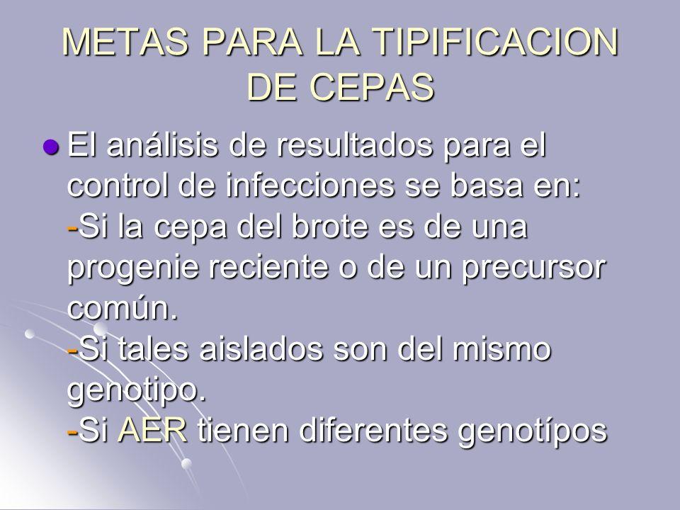 METAS PARA LA TIPIFICACION DE CEPAS El análisis de resultados para el control de infecciones se basa en: -Si la cepa del brote es de una progenie reci