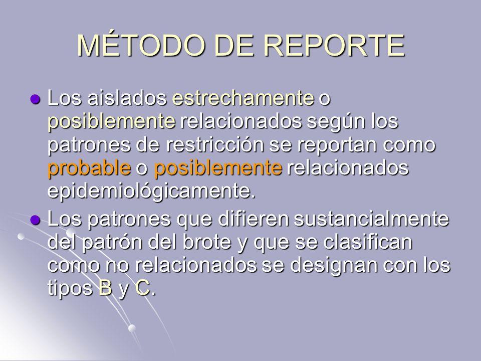 MÉTODO DE REPORTE Los aislados estrechamente o posiblemente relacionados según los patrones de restricción se reportan como probable o posiblemente re