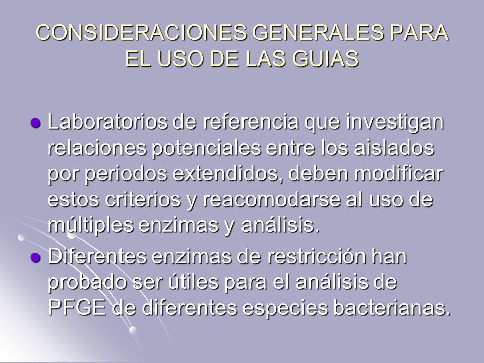 CONSIDERACIONES GENERALES PARA EL USO DE LAS GUIAS Laboratorios de referencia que investigan relaciones potenciales entre los aislados por periodos ex