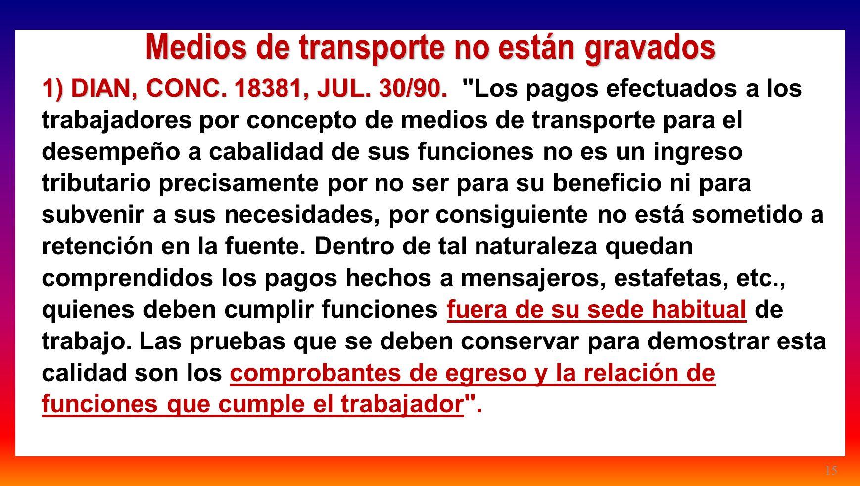 15 Medios de transporte no están gravados 1) DIAN, CONC. 18381, JUL. 30/90. 1) DIAN, CONC. 18381, JUL. 30/90.