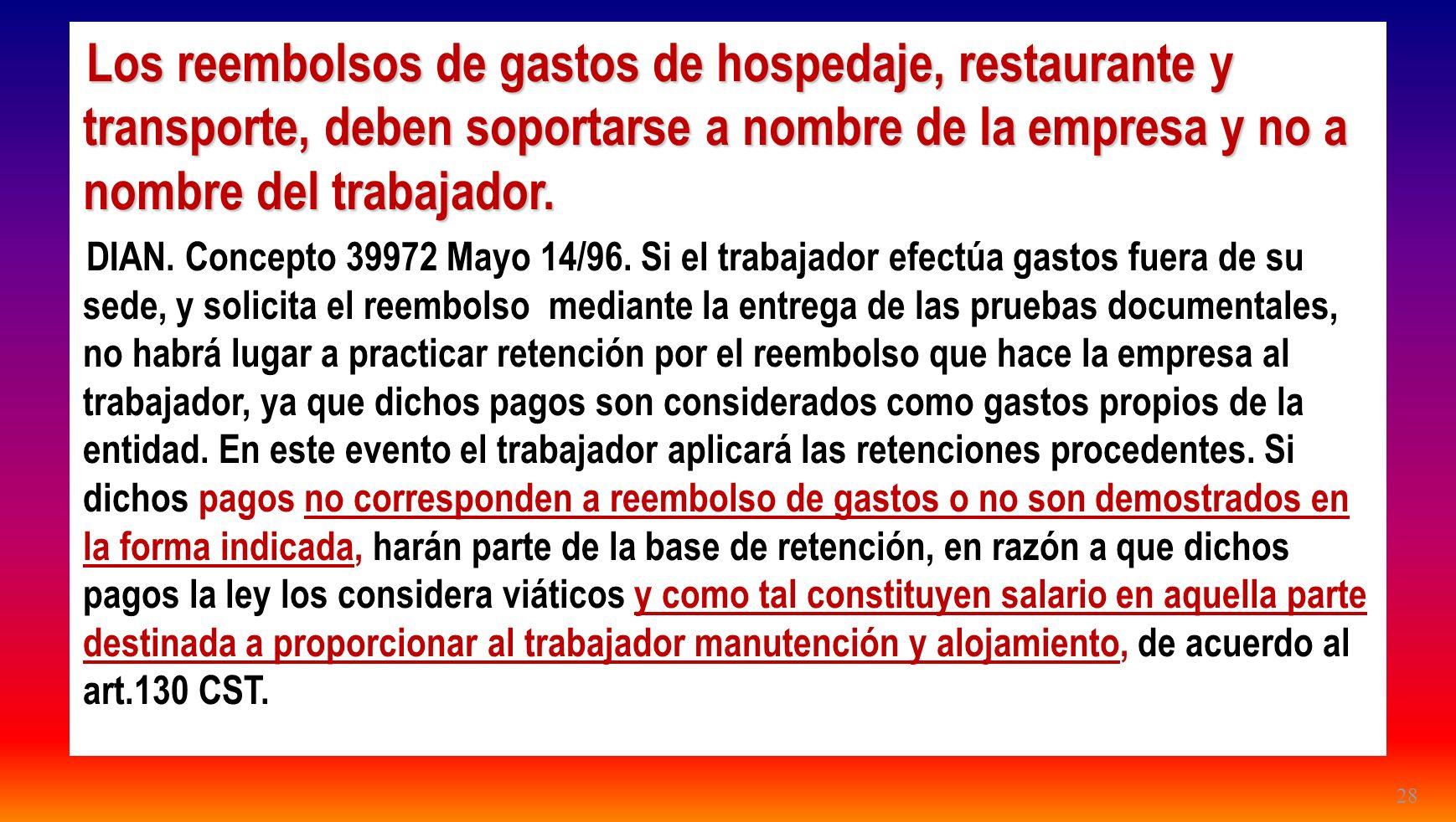 28 Los reembolsos de gastos de hospedaje, restaurante y transporte, deben soportarse a nombre de la empresa y no a nombre del trabajador. DIAN. Concep