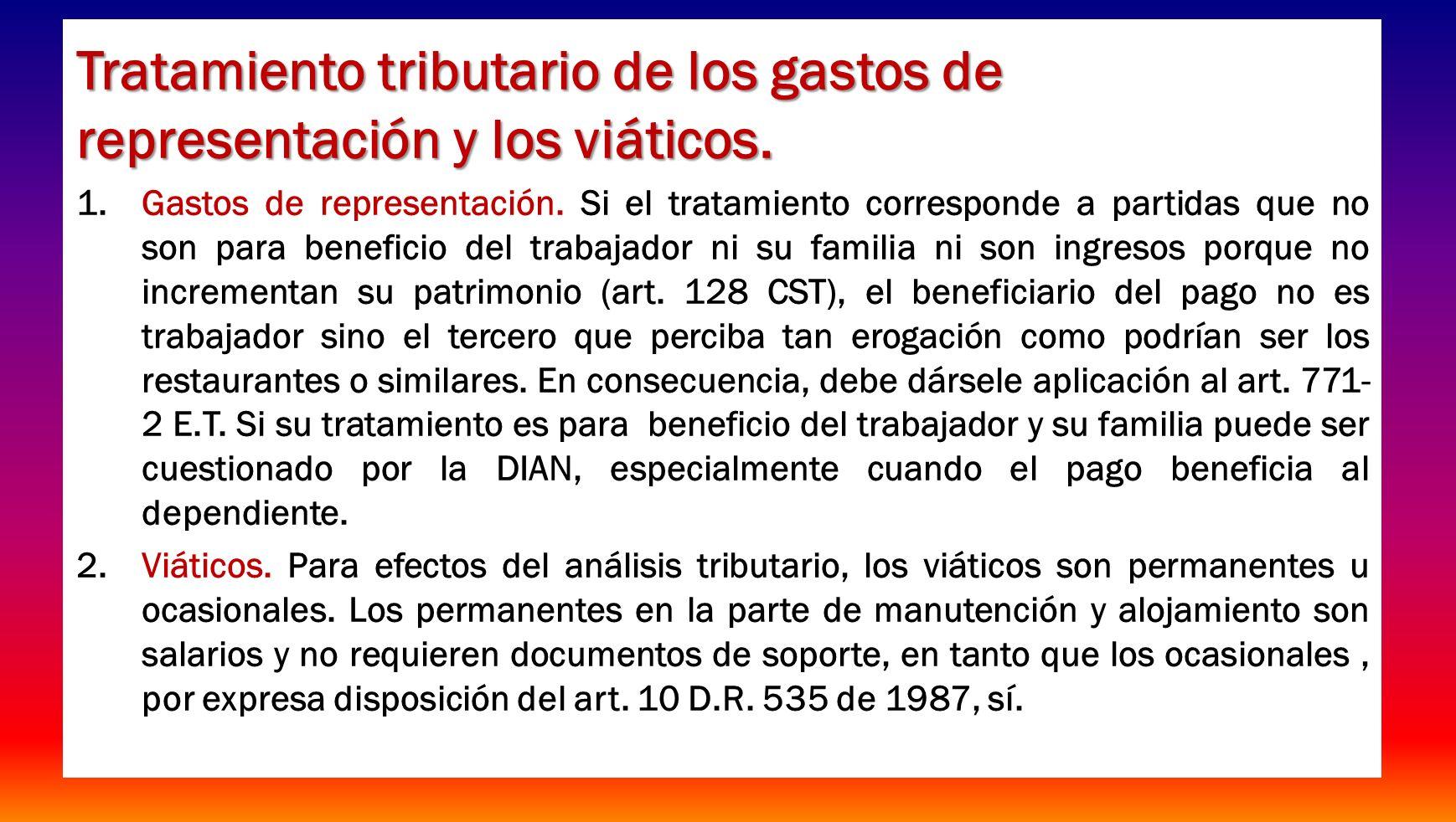 26 Tratamiento fiscal de los viáticos ocasionales, sector privado Qué sucede con los viáticos pagados en el exterior.