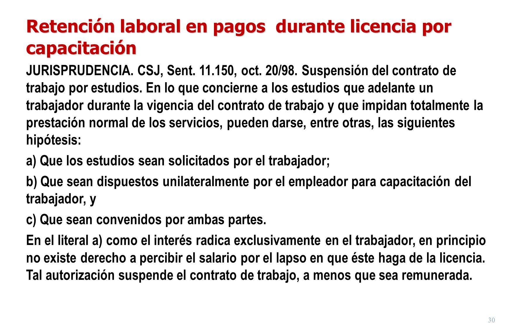 30 Retención laboral en pagos durante licencia por capacitación JURISPRUDENCIA. CSJ, Sent. 11.150, oct. 20/98. Suspensión del contrato de trabajo por