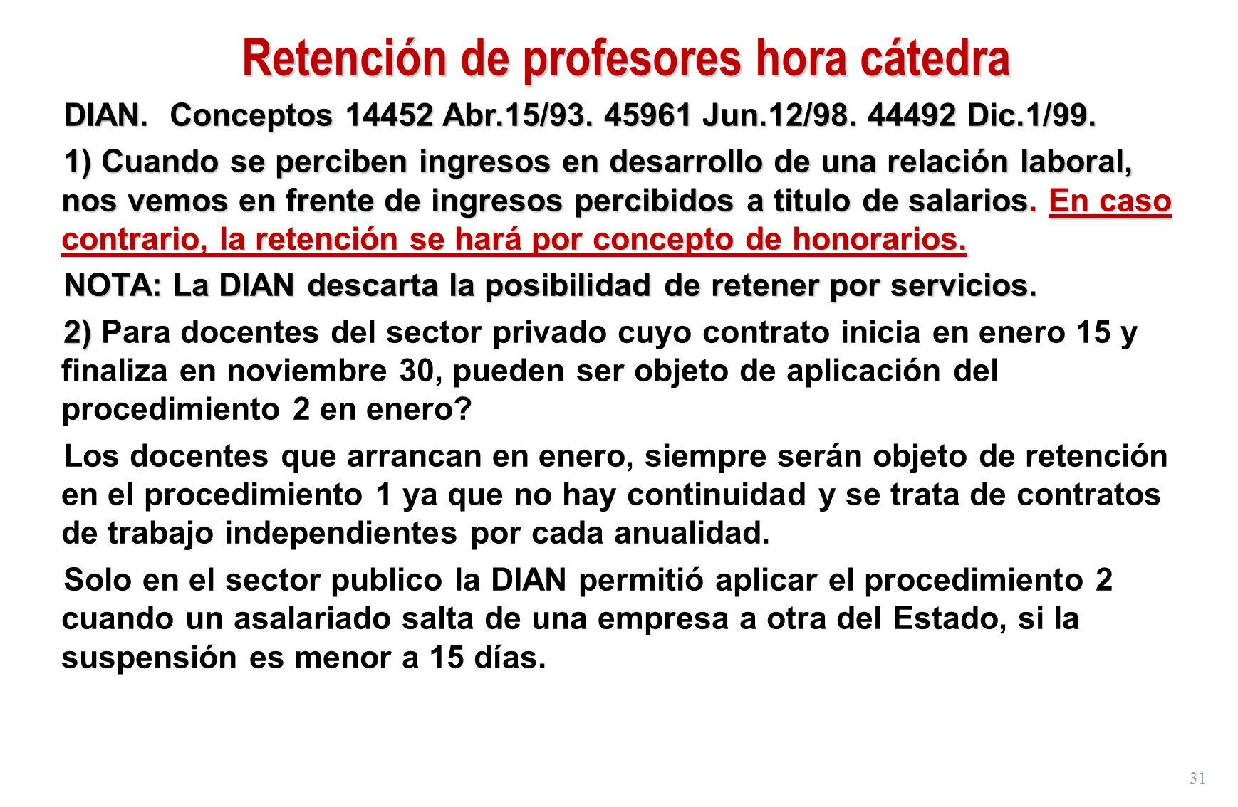 31 Retención de profesores hora cátedra DIAN. Conceptos 14452 Abr.15/93. 45961 Jun.12/98. 44492 Dic.1/99. 1) Cuando se perciben ingresos en desarrollo