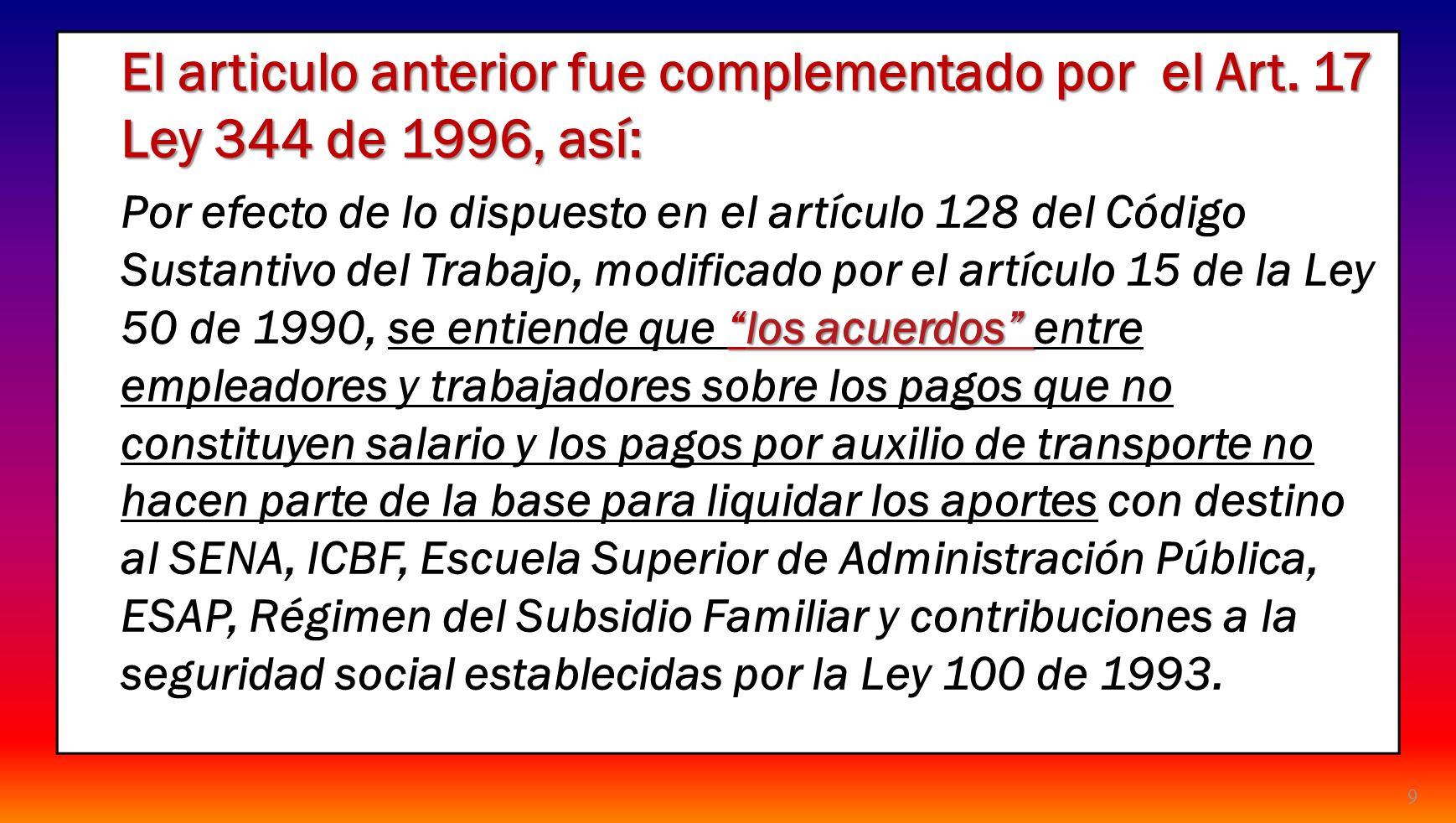9 El articulo anterior fue complementado por el Art. 17 Ley 344 de 1996, así: los acuerdos Por efecto de lo dispuesto en el artículo 128 del Código Su